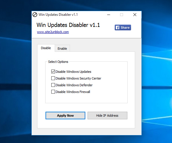 disable window update