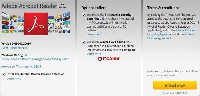 Warning: Installing Adobe Acrobat Reader also installs add